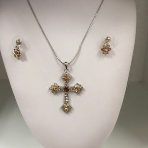 Jewelry - Jeweled Old Rugged Cross & Earrings, Gold $14